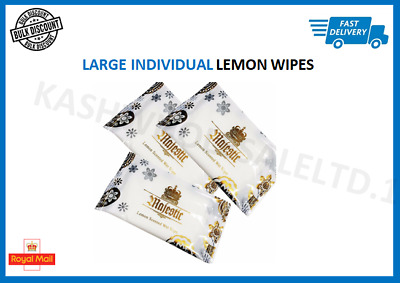LARGE Lemon Scented Wet Wipes Hot/Cold Individually Wrapped -catering Restaurant • 10.99£