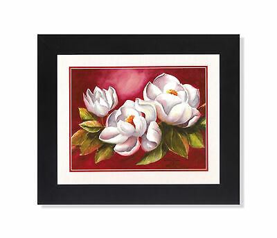 $27.97 • Buy Magnolia Flowers On Red Background #1 Wall Picture 8x10 Art Print