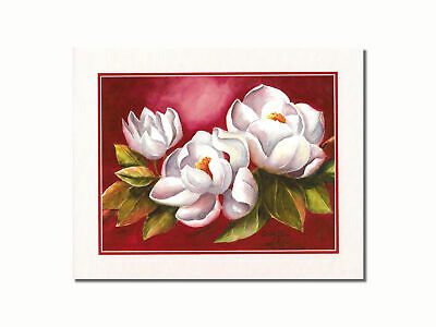 $8.87 • Buy Magnolia Flowers On Red Background #1 Wall Picture 8x10 Art Print