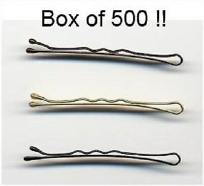 500 X 2  Waved Hairdressing Salon Hair Grips Clips Kirby - Black, Blond Or Brown • 9.50£