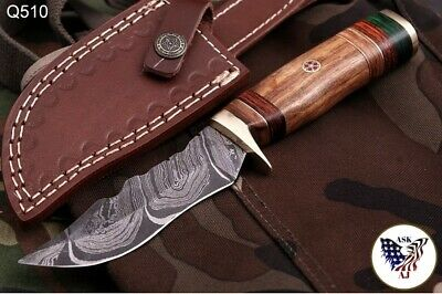 $24.95 • Buy CUSTOM HAND FORGED DAMASCUS STEEL Hunting KNIFE W/ Wood Brass Guard HANDLE-Q 00