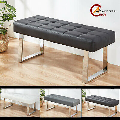 Dining Bench Long Seat Chairs Grey Faux PU Leather Lounge Stool Base Steel Home • 90.99£
