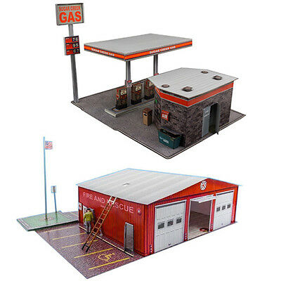 $ CDN23.93 • Buy 1:87 Train HO Scale  Gas Station & Fire Department  Model Building Kit Scenery