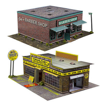 $ CDN23.93 • Buy 1:87 Train HO Scale Model Building Combo Kit X2 Motorcycle & Barber Shop