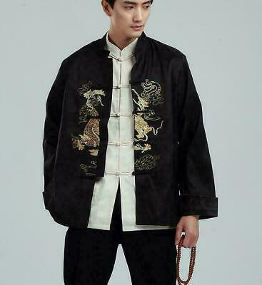 Chinese Style Mens Dragon Embroidery Stand Collar Long Sleeve Coat Shirt Black K • 17.66£