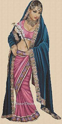 Cross Stitch Chart Elegant Lady Indian Costume Lady  No 404a FlowerPower37-uk • 3.75£