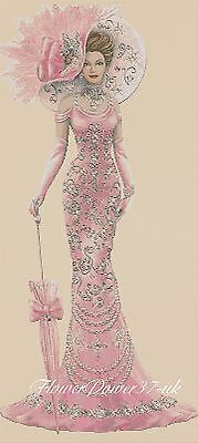 Cross Stitch Chart  Elegant Lady 156 Full Length Pinks  Flowerpower37-uk • 3.75£