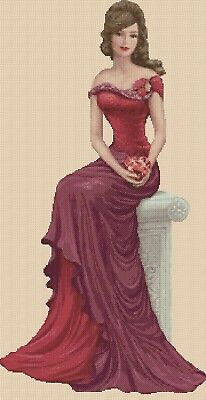 Cross Stitch Chart  Elegant Lady 156w Full Length     Flowerpower37-uk • 3.75£