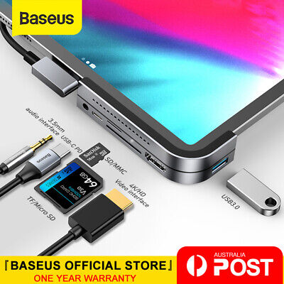 AU79.99 • Buy Baseus USB C HUB To HDMI USB 3.0 TF/SD 3.5mm AUX PD For IPad Pro MacBook Surface