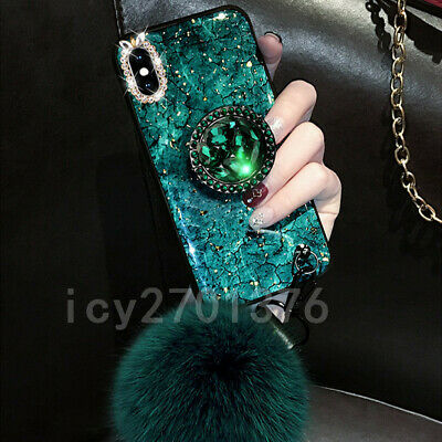 3D Bling Marble Ring Holder Stand Soft Phone Case For Samsung Galaxy S8 S9 S10 + • 7.98£