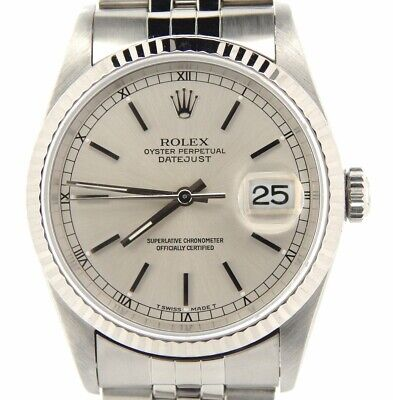 $ CDN7144.33 • Buy Rolex Datejust Mens Stainless Steel Watch 18K White Gold Bezel Silver Dial 16234