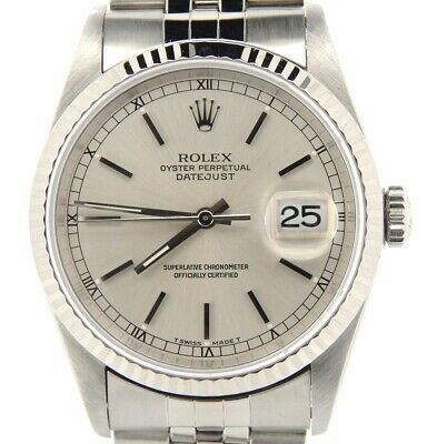 $ CDN7159.87 • Buy Rolex Datejust Mens Stainless Steel Watch 18K White Gold Bezel Silver Dial 16234