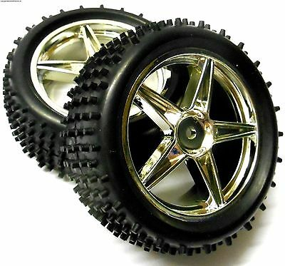 £13.99 • Buy 06026 1/10 Scale Off Road RC R/C Buggy Rear Wheels And Tyres X2 Silver 5 Spoke