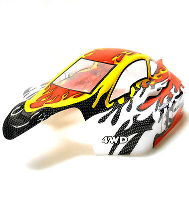 81355 Off Road Nitro RC 1/8 Scale Buggy Body Shell Cover Black Red Cut • 17.09£