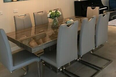 AU4000 • Buy Mocha Marble Dining Set- Table (2m By 1m) And Full Leather Chairs X8 (mushroom)