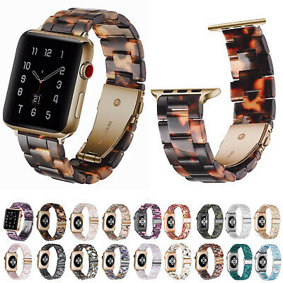 $ CDN21.15 • Buy Stylish Tortoise Brown Strap For Apple Watch Series 6 5 4 3 Colorful Resin Band