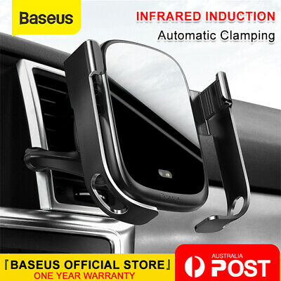 AU37.99 • Buy Baseus Qi Wireless Charger Electric Intelligent Car Air Vent Phone Holder Mount
