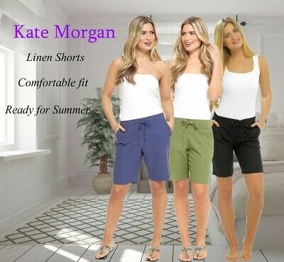 **new** Ladies Elasticated Linen Shorts With 4 Pockets & Drawstring Size 10-20 • 4.95£