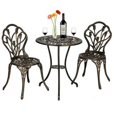 $129.99 • Buy 3PC Bistro Set Outdoor Metal Chair Table Brozen 3 Pieces Outdoor Patio Furniture