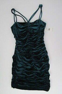 $49.99 • Buy NWT Aidan Mattox Strappy Teal Green Ruched Velvet Cocktail Dress 6 8 10 NEW $195