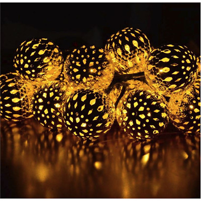 MOROCCAN STAR LIGHTS Warm White Bulbs 20 Globe Moroccan Balls, 15ft • 23.99$