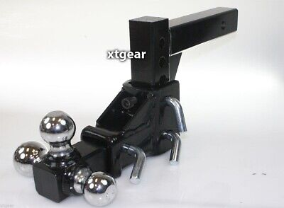Tri-Ball Tow Hitch Mount Raise Drop Adjustable Vertical Travel 2  Solid Shank • 76.99$