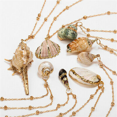 $0.70 • Buy Natural Shell Necklace Sea Shell Conch Pendant Collar Choker Beach Chain Jewelry