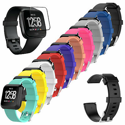 $ CDN8.65 • Buy [3-PACK] Tempered Glass + Replacement Silicone Band Strap For Fitbit Versa Watch
