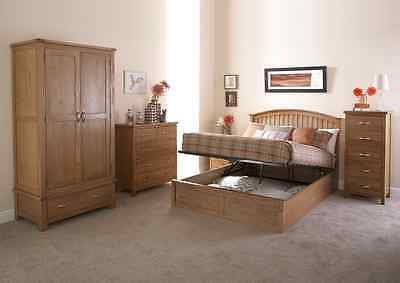 Madrid 4ft6 Double Wood Ottoman Lift Up Bed Shaker Style Storage Bed In Oak • 300£