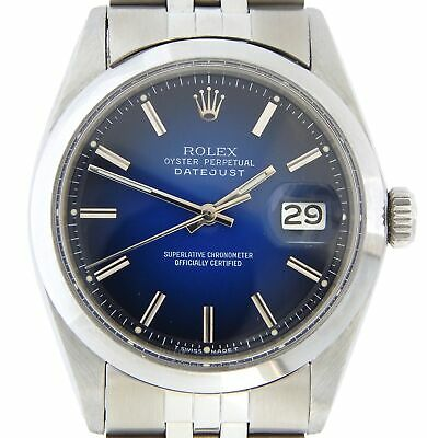 $ CDN4980.60 • Buy Rolex Datejust Mens Stainless Steel Watch Smooth Domed Bezel Blue Vignette Dial