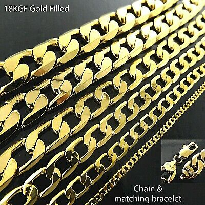 AU11.95 • Buy Necklace Chain Bracelet 18K Yellow Gold Filled Solid Curb Men's Ladies Statement
