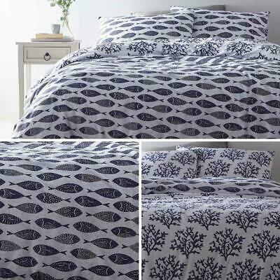Blue Duvet Covers Grey Nautical Fish Reversible Seaside Quilt Cover Bedding Sets • 12.95£