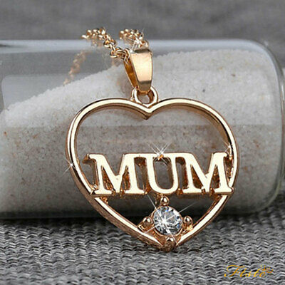 AU12.99 • Buy Rose Gold Mum Heart Crystal Necklace Xmas Birthday Gift For Her Mother Mom Women