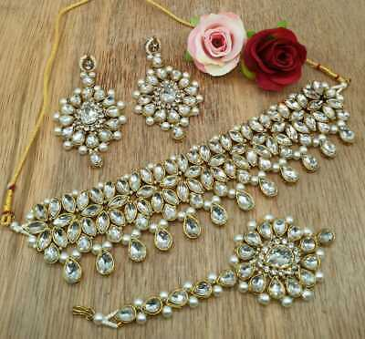 Kundan Choker Necklace Gold Plated Bollywood Bridal Indian Pearl Jewelry Set • 16.99$