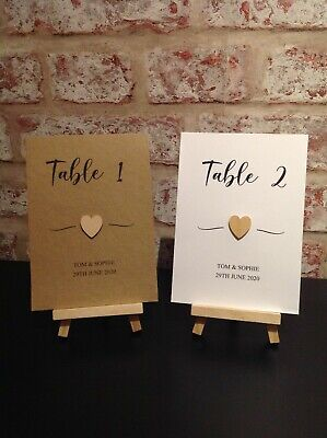 £1.50 • Buy Personalised Wedding Table Numbers/Name Cards With Wooden Heart