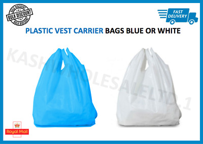 Plastic Vest Carrier Bags Blue OR White - Supermarkets Stalls Shops - ALL SIZES • 3.65£