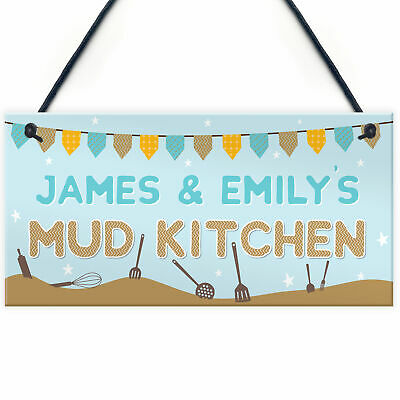 £4.99 • Buy Personalised Name MUD KITCHEN Hanging Outdoor Sign Plaque Home School Garden Toy