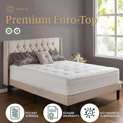 AU335 • Buy Zinus Luxury QUEEN DOUBLE Mattress Bed Euro Top Pocket Spring Comfort Foam Full