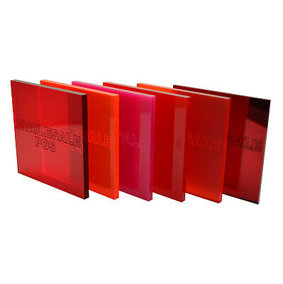 Red And Pink Colour, Tinted & Mirror Perspex Acrylic Sheets - 3mm & 5mm Thick • 32.71£