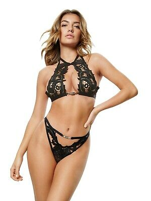 Ann Summers Orlando Black Halter Neck Bra & Thong Sz Small (8-10) *In Stock* • 19.99£