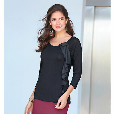 Women's 3/4 Sleeve T-shirt With Pleat, Flounce And Bow In Voile - 112469 • 25.99£