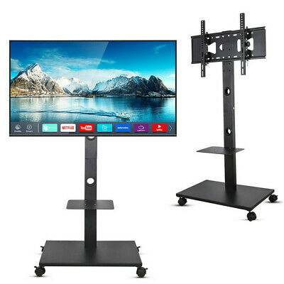 £53.97 • Buy 32 -70  Wheeled TV Mobile Floor Stand Moving Cart Mount Height Adjustable 30KG