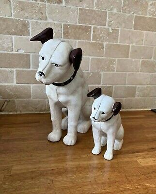 HMV Nipper The Dog Cast Iron LARGE & Small Money Bank Or Doorstop • 40£