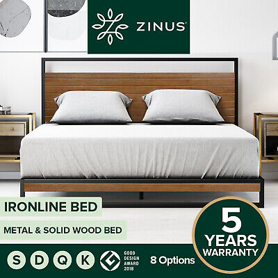 AU319 • Buy Zinus Ironline Bed Frame Queen Single Double King Metal Wood Base - 5Yr Warranty