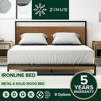 AU319 • Buy Zinus Ironline Metal Wood Bed Frame Queen Single Double King Base Mattress Pine