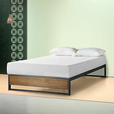 AU241 • Buy Zinus Industrial Metal Wood Bed Frame Single Double Queen King Base Mattress