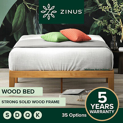 AU222 • Buy Zinus Moiz QUEEN DOUBLE KING SINGLE Bed Base Solid Timber Wood Slat Steel Frame