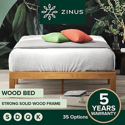 AU249 • Buy Zinus Moiz QUEEN DOUBLE KING SINGLE Bed Frame Base Timber Wood Slat Pine Frame