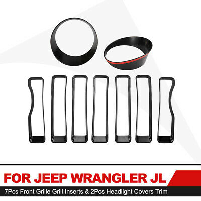 $21.45 • Buy Front Grille Inserts Headlight Cover Trim Accessories For Jeep Wrangler JL 2018