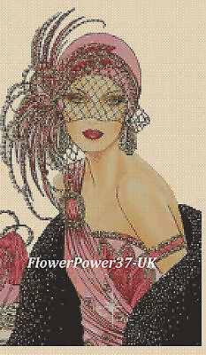 Cross Stitch Chart  Art Deco Lady 47 Flowerpower37-uk Free Uk P&p • 3.50£